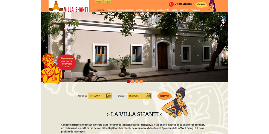 webdesign de la Villa Shanti